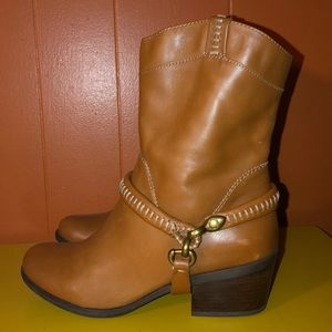 b. makowsky Shoes - B. Makowsky Brown Leather Western Harness Boots